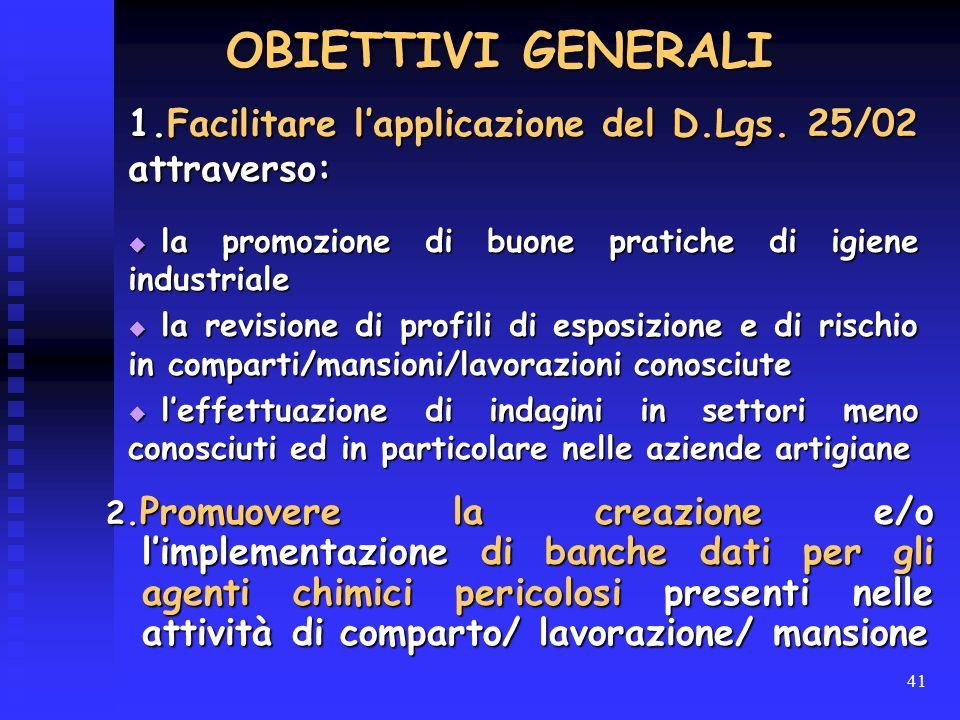 OBIETTIVI GENERALI 1.Facilitare l'applicazione del D.Lgs. 25/02 attraverso: la promozione di buone pratiche di igiene industriale.