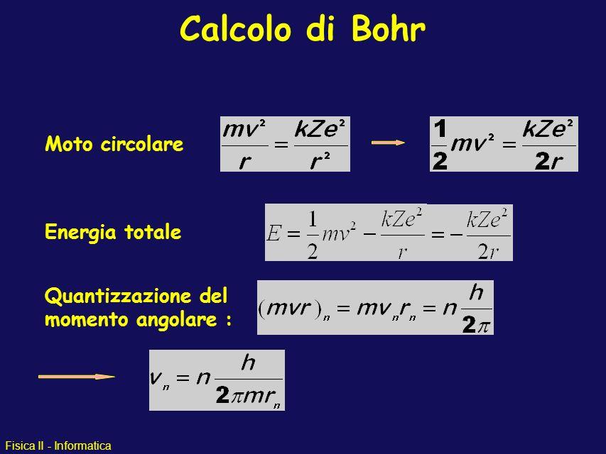 Calcolo di Bohr Moto circolare Energia totale