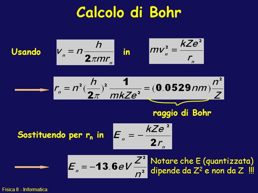 Calcolo di Bohr Usando in raggio di Bohr Sostituendo per rn in