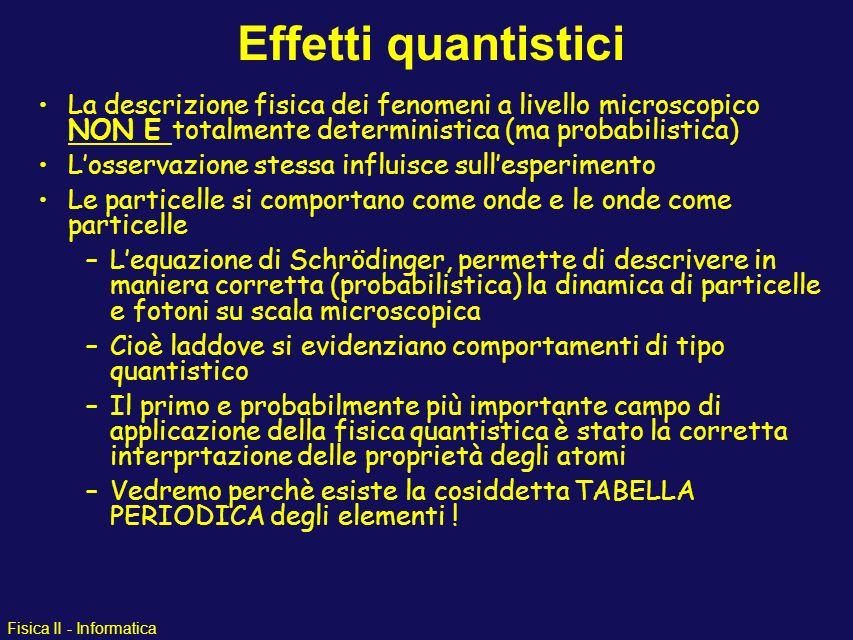 Effetti quantistici La descrizione fisica dei fenomeni a livello microscopico NON È totalmente deterministica (ma probabilistica)