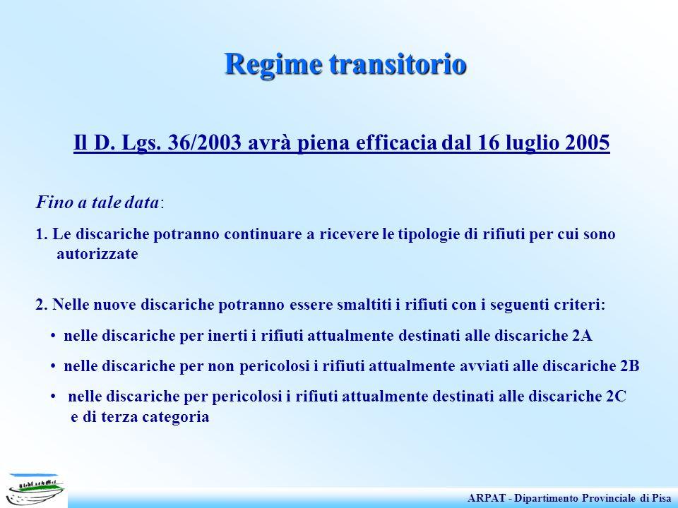 Il D. Lgs. 36/2003 avrà piena efficacia dal 16 luglio 2005