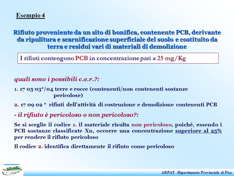 I rifiuti contengono PCB in concentrazione pari a 25 mg/Kg