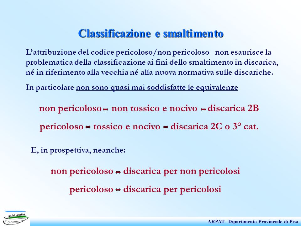 Classificazione e smaltimento