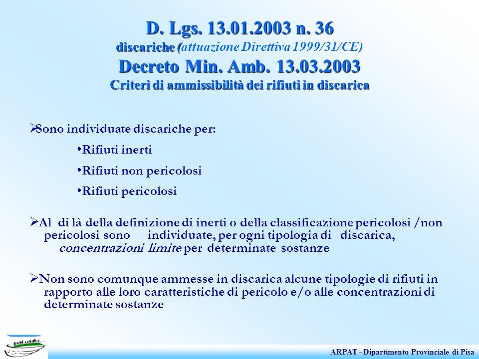 D. Lgs. 13.01.2003 n. 36 discariche (attuazione Direttiva 1999/31/CE) Decreto Min. Amb. 13.03.2003 Criteri di ammissibilità dei rifiuti in discarica