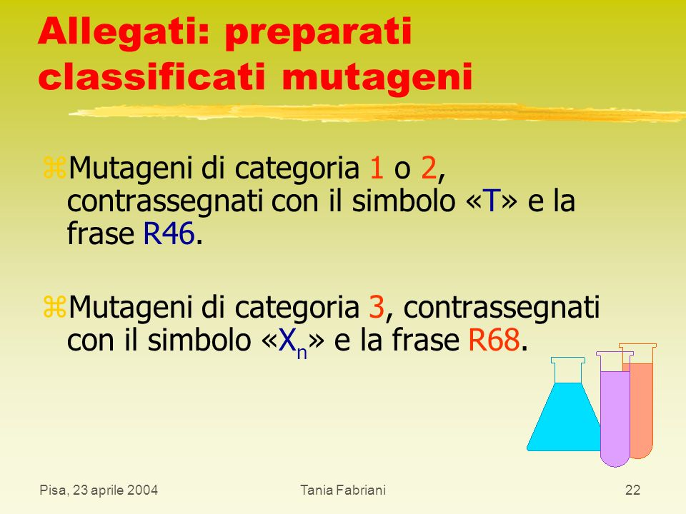 Allegati: preparati classificati mutageni