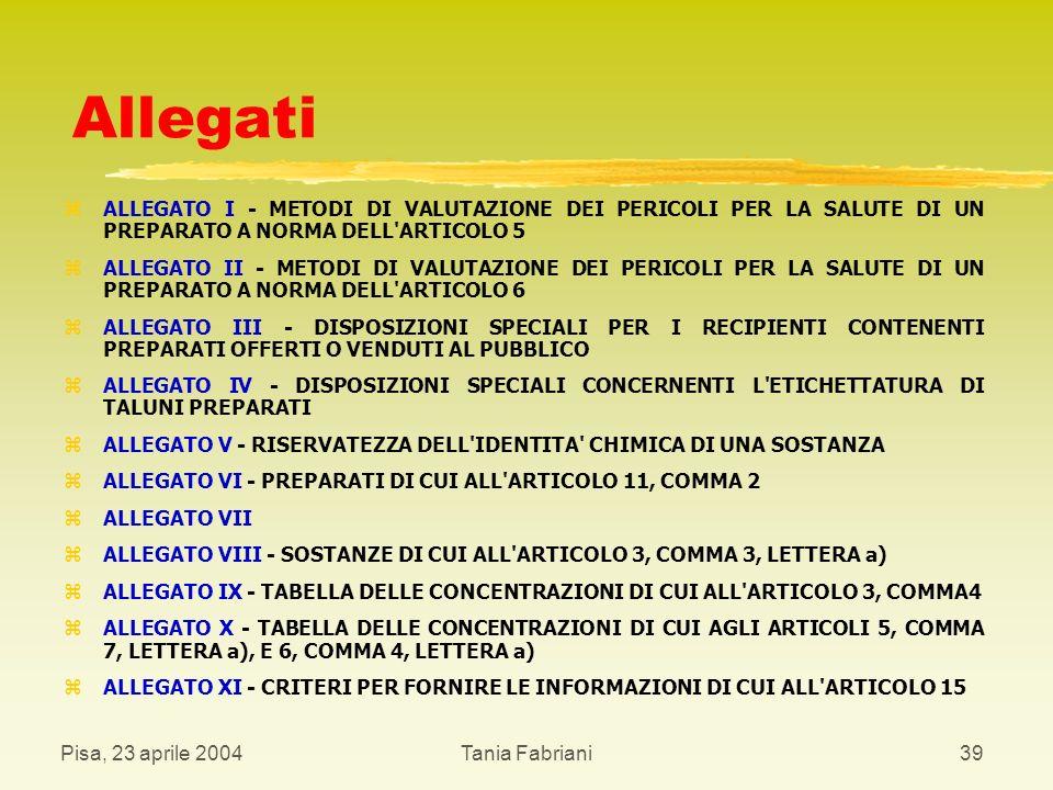 Allegati ALLEGATO I - METODI DI VALUTAZIONE DEI PERICOLI PER LA SALUTE DI UN PREPARATO A NORMA DELL ARTICOLO 5.