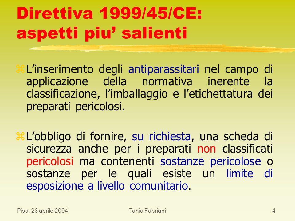 Direttiva 1999/45/CE: aspetti piu' salienti