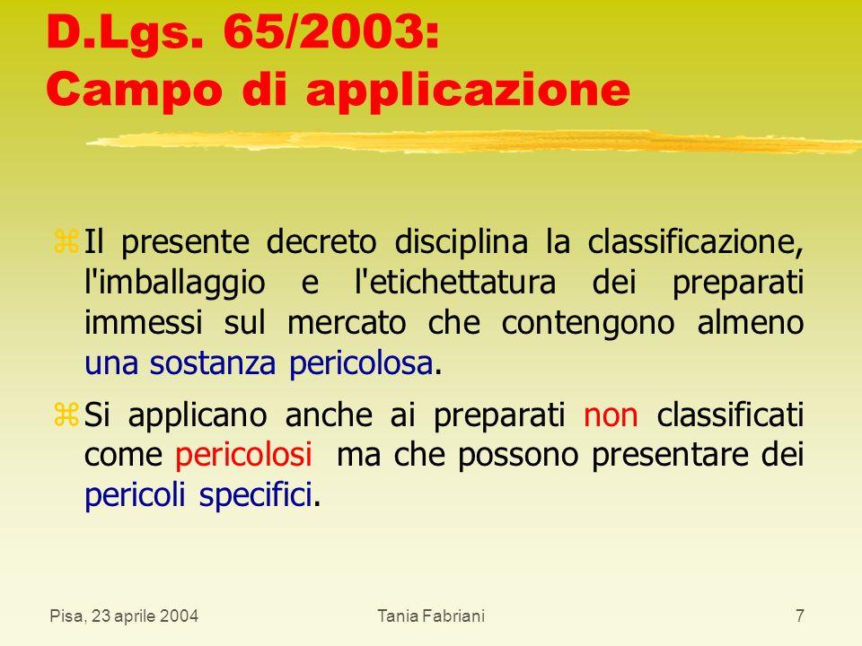 D.Lgs. 65/2003: Campo di applicazione