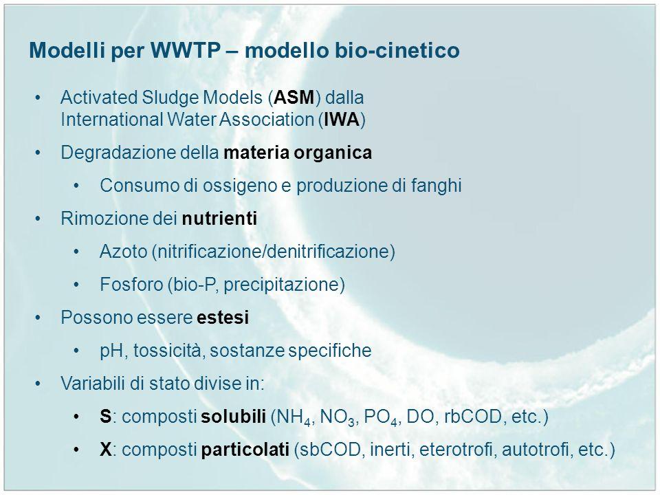 Modelli per WWTP – modello bio-cinetico