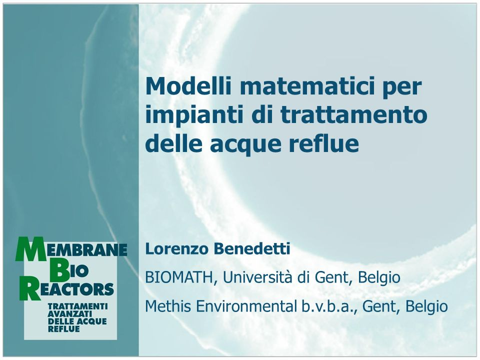 Modelli matematici per impianti di trattamento delle acque reflue