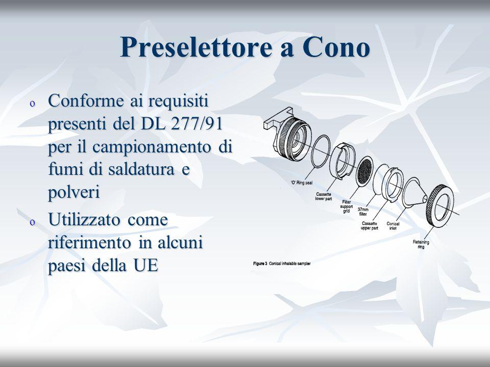 Preselettore a Cono Conforme ai requisiti presenti del DL 277/91 per il campionamento di fumi di saldatura e polveri.