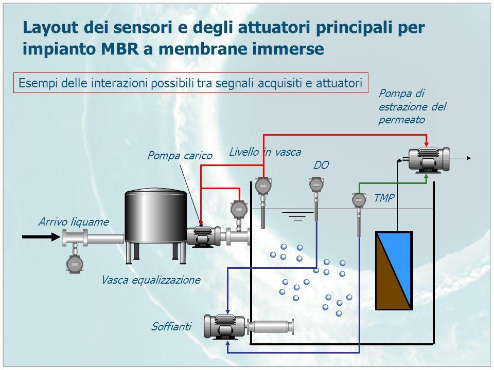 Layout dei sensori e degli attuatori principali per impianto MBR a membrane immerse