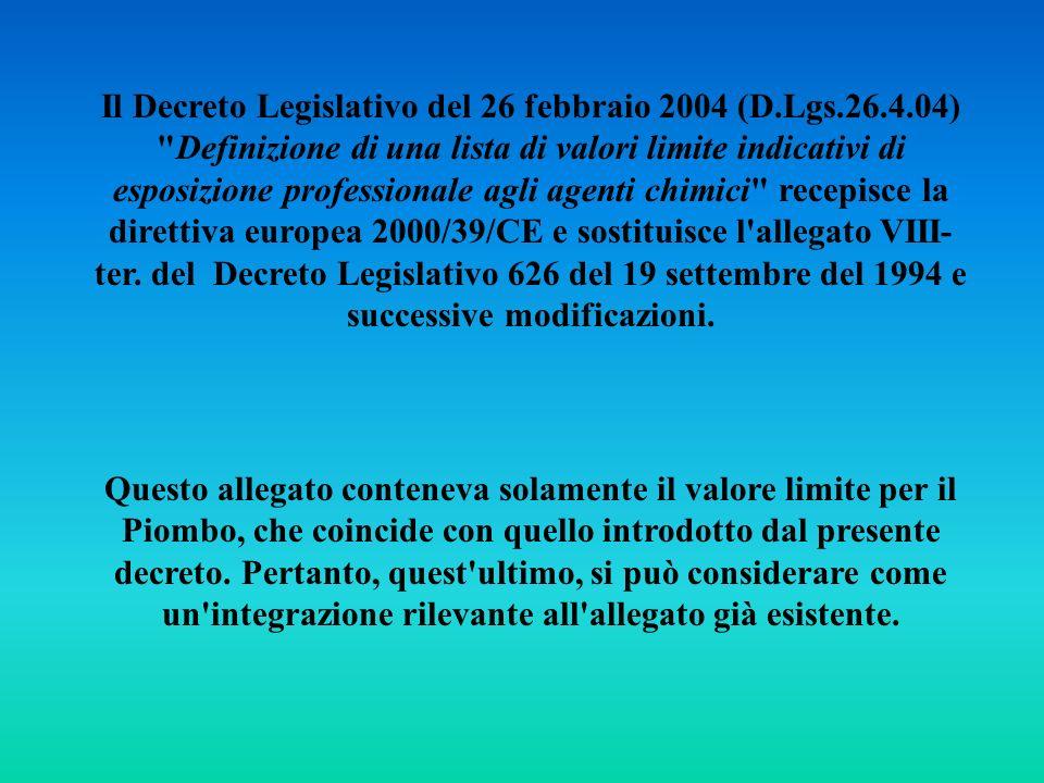 Il Decreto Legislativo del 26 febbraio 2004 (D. Lgs. 26. 4