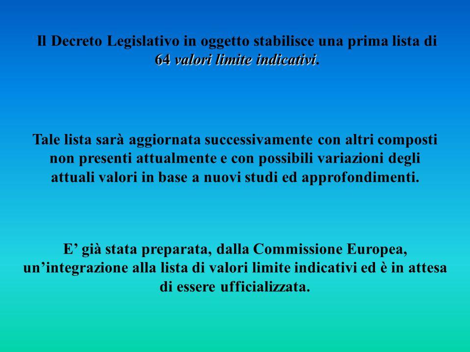 Il Decreto Legislativo in oggetto stabilisce una prima lista di 64 valori limite indicativi.