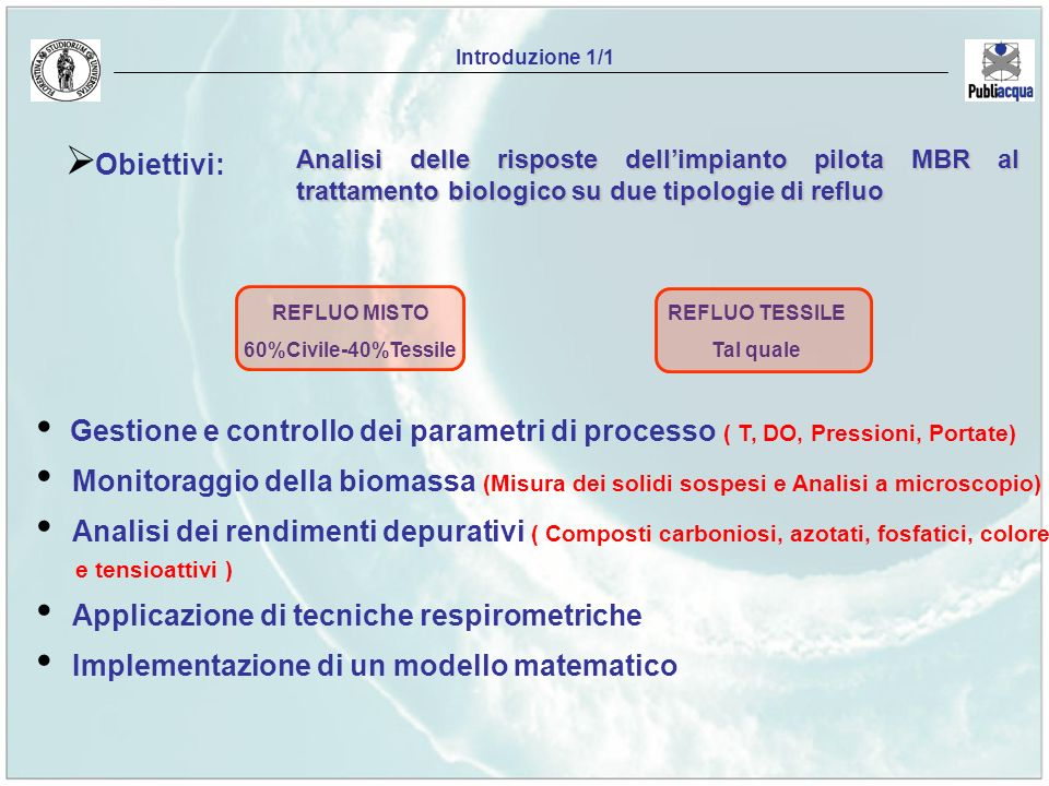 Introduzione 1/1 Obiettivi: Analisi delle risposte dell'impianto pilota MBR al trattamento biologico su due tipologie di refluo.