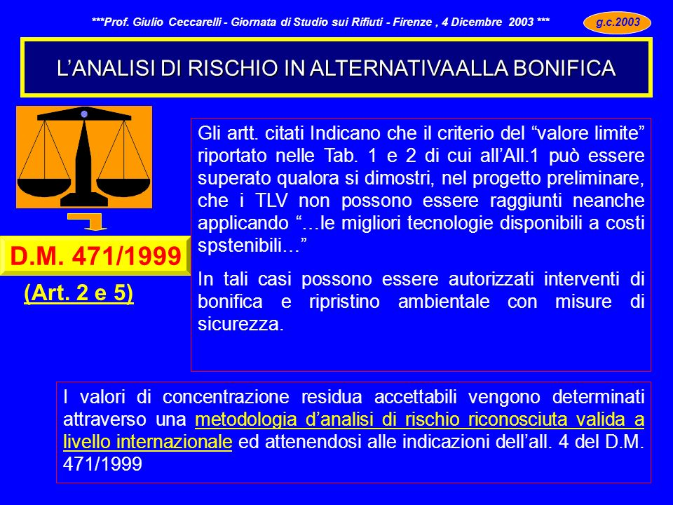 L'ANALISI DI RISCHIO IN ALTERNATIVA ALLA BONIFICA