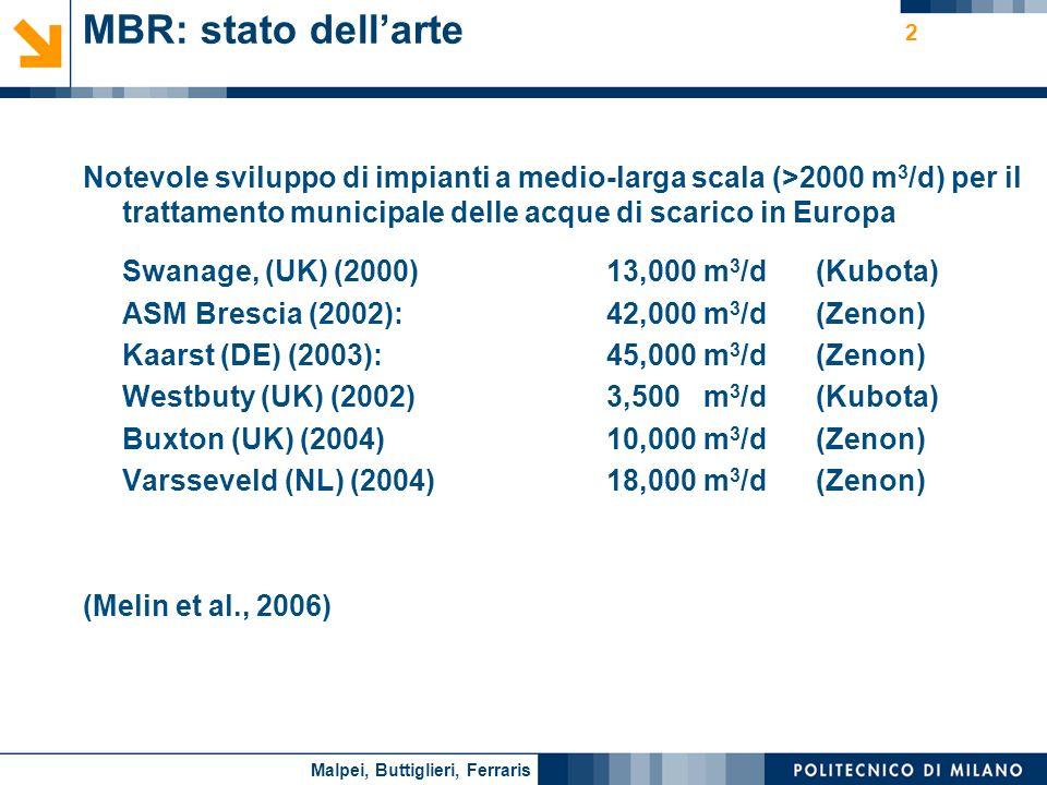 MBR: stato dell'arte Notevole sviluppo di impianti a medio-larga scala (>2000 m3/d) per il trattamento municipale delle acque di scarico in Europa.