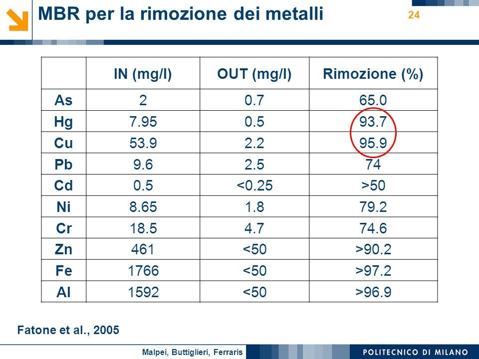 MBR per la rimozione dei metalli