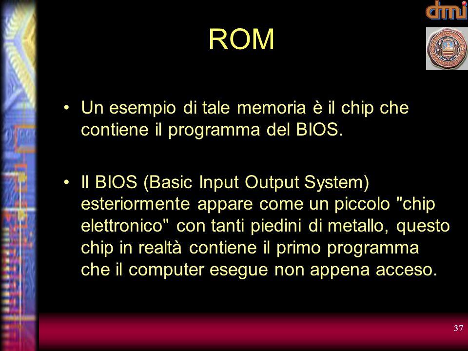 ROM Un esempio di tale memoria è il chip che contiene il programma del BIOS.