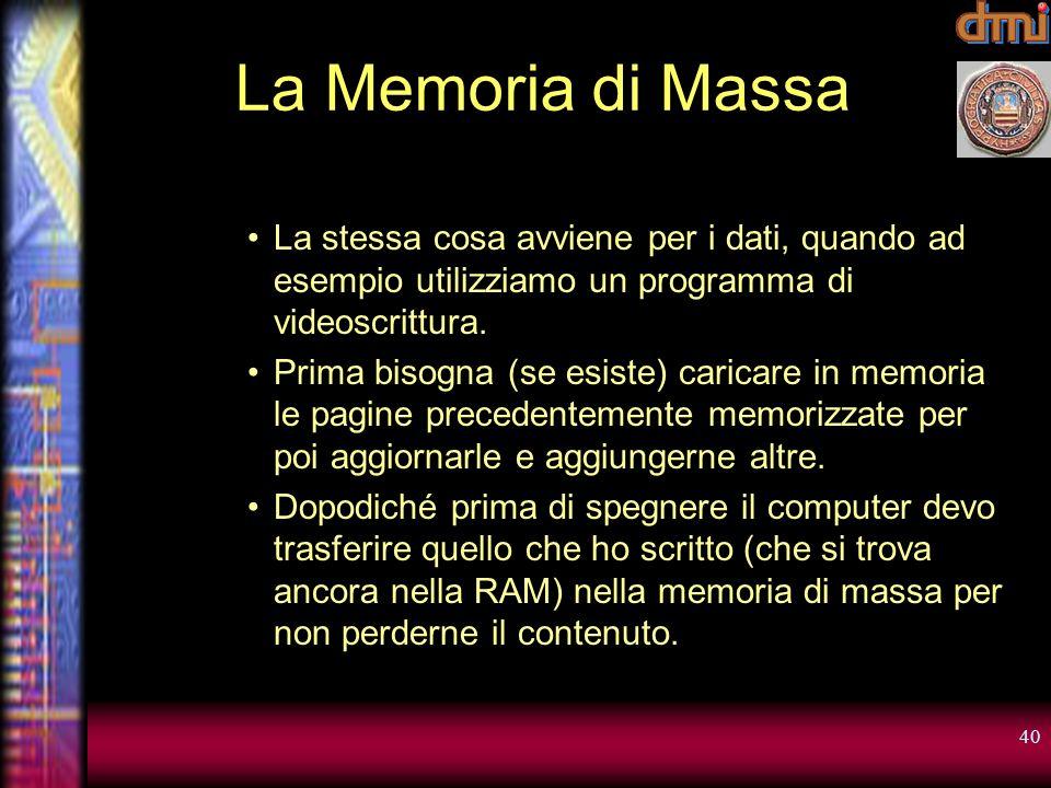 La Memoria di Massa La stessa cosa avviene per i dati, quando ad esempio utilizziamo un programma di videoscrittura.