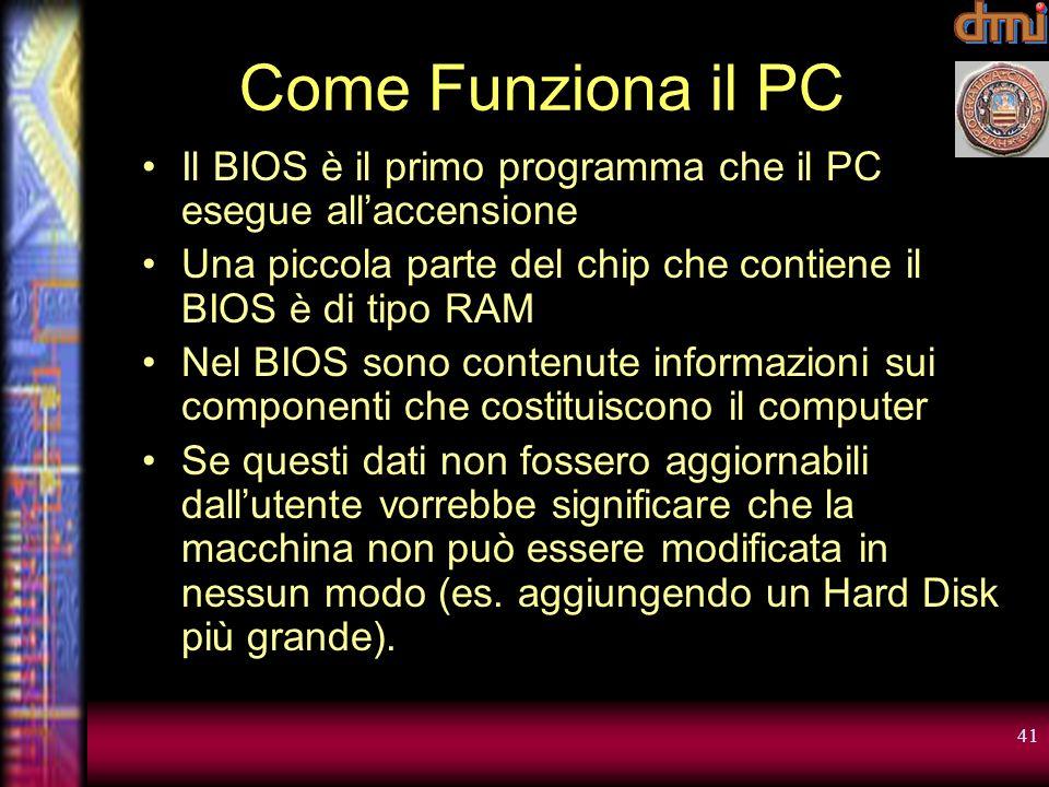 Come Funziona il PC Il BIOS è il primo programma che il PC esegue all'accensione. Una piccola parte del chip che contiene il BIOS è di tipo RAM.