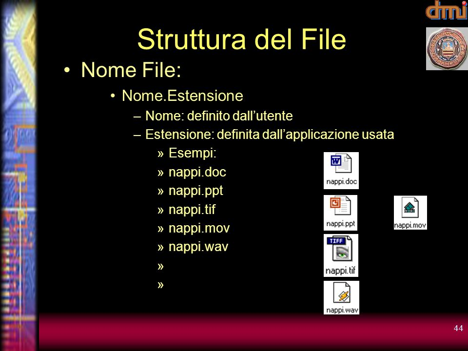 Struttura del File Nome File: Nome.Estensione