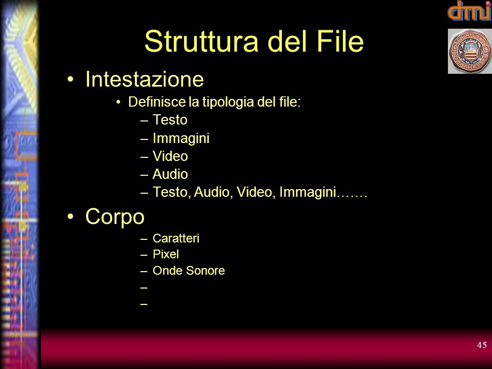 Struttura del File Intestazione Corpo Definisce la tipologia del file: