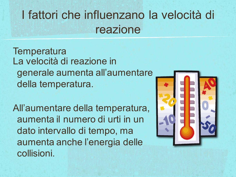 I fattori che influenzano la velocità di reazione
