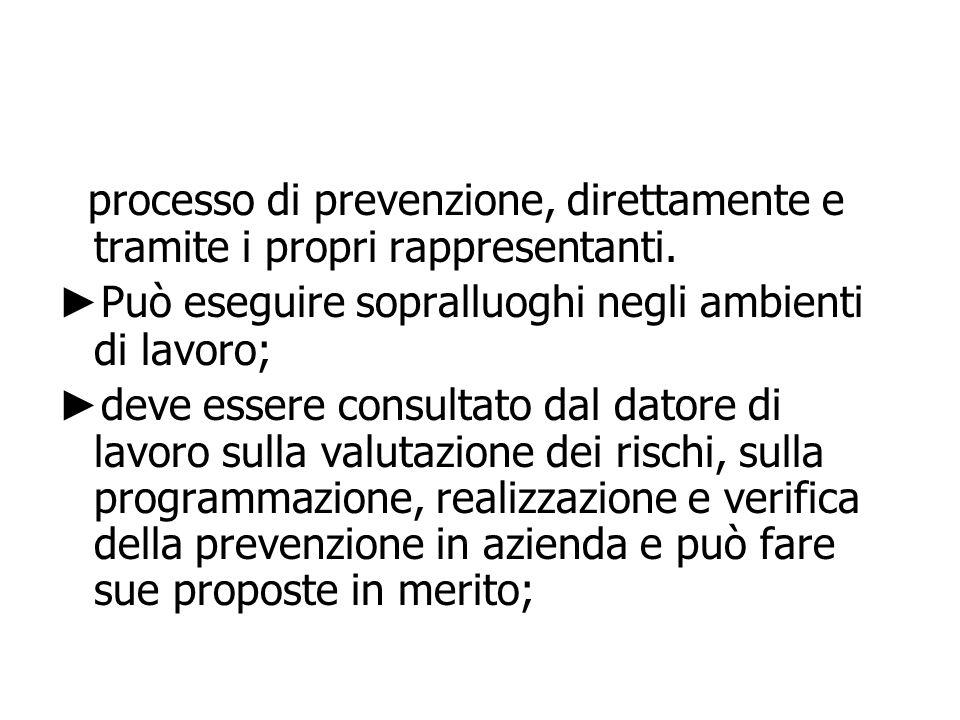 processo di prevenzione, direttamente e tramite i propri rappresentanti.