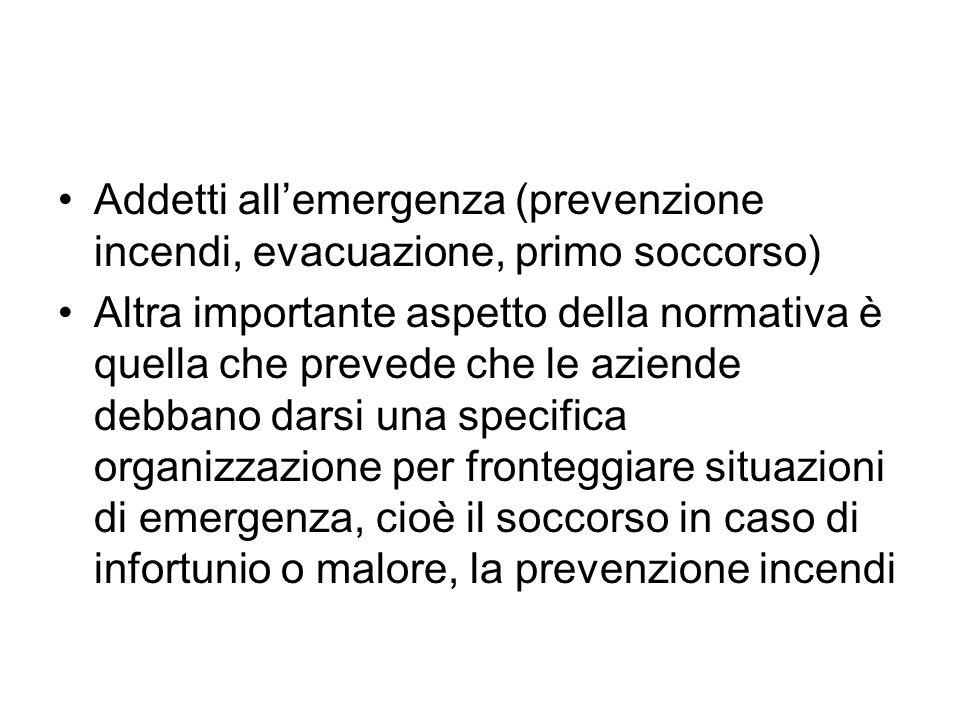 Addetti all'emergenza (prevenzione incendi, evacuazione, primo soccorso)