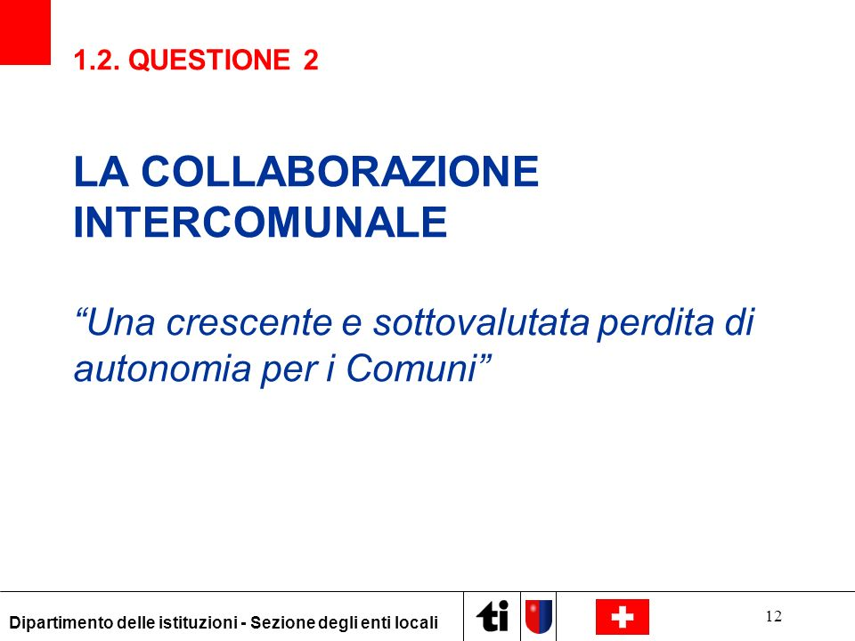 LA COLLABORAZIONE INTERCOMUNALE