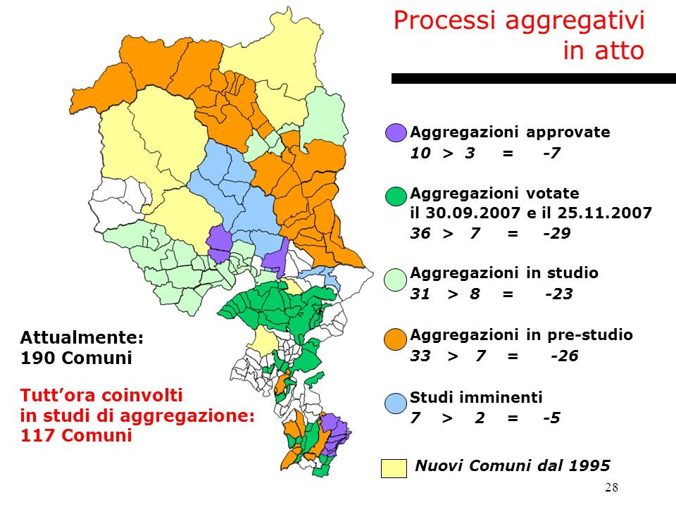 Processi aggregativi in atto Attualmente: 190 Comuni