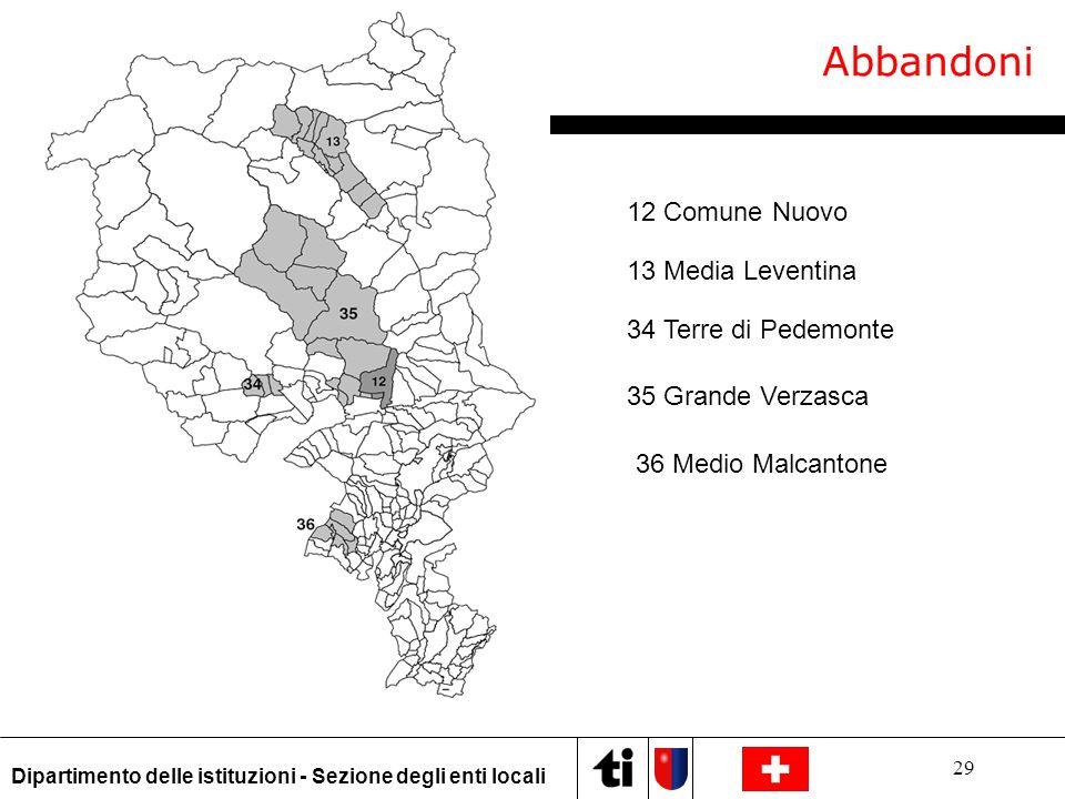 Abbandoni 12 Comune Nuovo 13 Media Leventina 34 Terre di Pedemonte