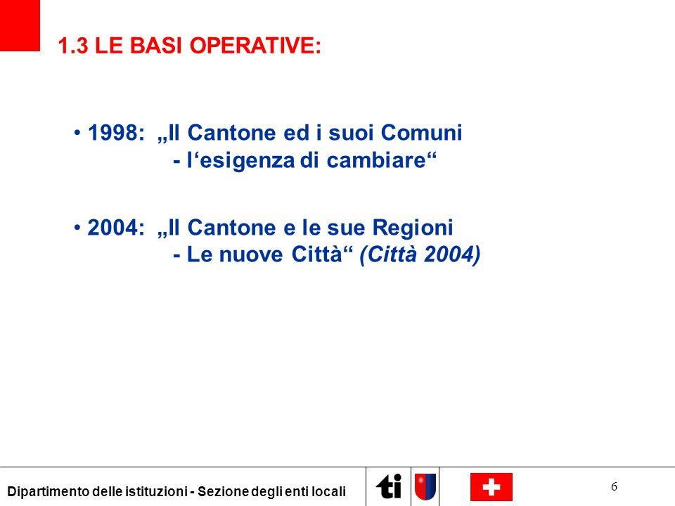"""1998: """"Il Cantone ed i suoi Comuni - l'esigenza di cambiare"""