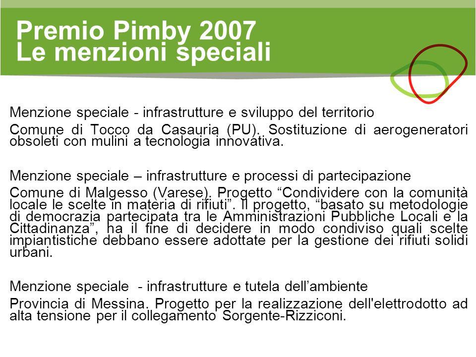 Premio Pimby 2007 Le menzioni speciali