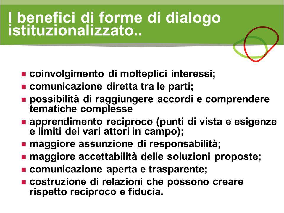 I benefici di forme di dialogo istituzionalizzato..