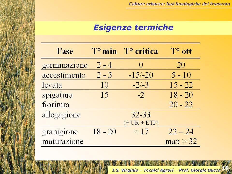 Esigenze termiche I.S. Virginio – Tecnici Agrari – Prof. Giorgio Ducco