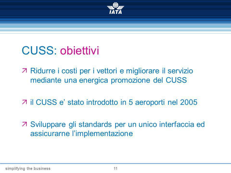 CUSS: obiettivi Ridurre i costi per i vettori e migliorare il servizio mediante una energica promozione del CUSS.