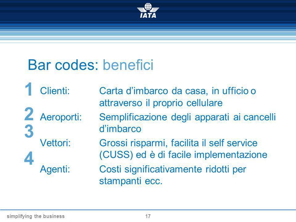 Bar codes: benefici 1. Clienti: Carta d'imbarco da casa, in ufficio o attraverso il proprio cellulare.