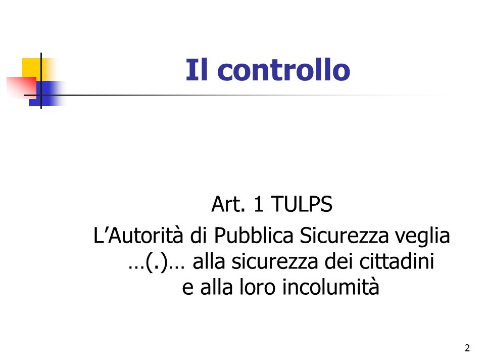 Il controllo Art. 1 TULPS.