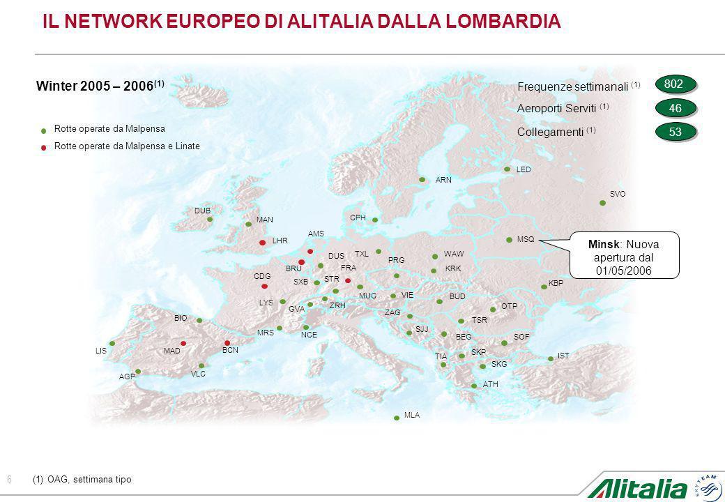 IL NETWORK EUROPEO DI ALITALIA DALLA LOMBARDIA