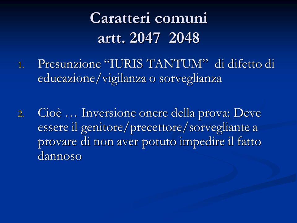 Caratteri comuni artt. 2047 2048 Presunzione IURIS TANTUM di difetto di educazione/vigilanza o sorveglianza.
