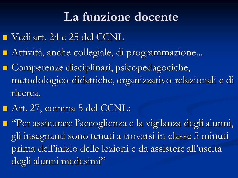 La funzione docente Vedi art. 24 e 25 del CCNL