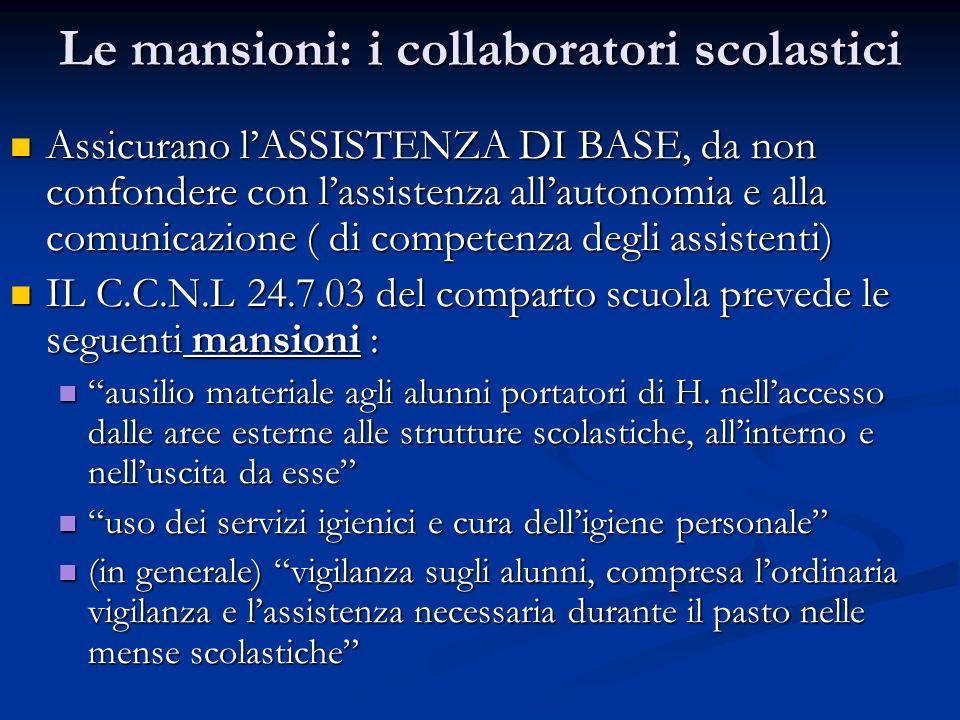 Le mansioni: i collaboratori scolastici