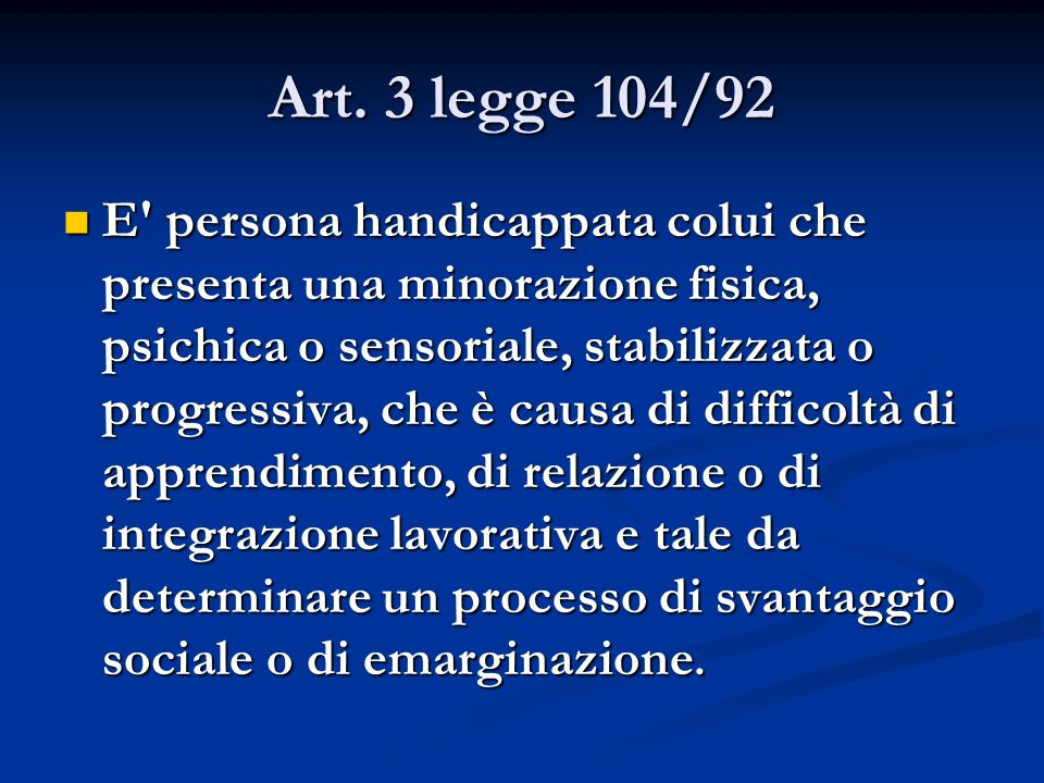 Art. 3 legge 104/92