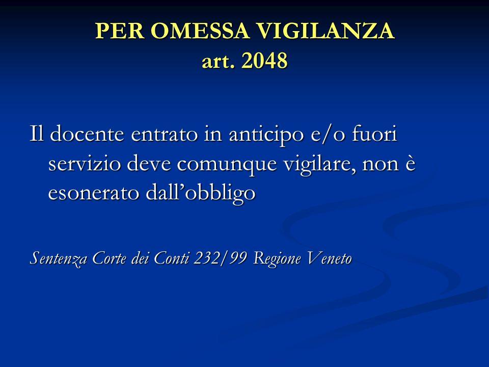 PER OMESSA VIGILANZA art. 2048