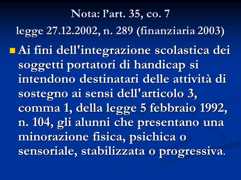 Nota: l'art. 35, co. 7 legge 27.12.2002, n. 289 (finanziaria 2003)