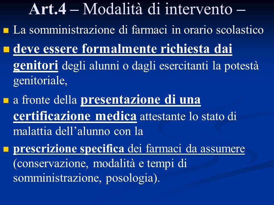 Art.4 – Modalità di intervento –