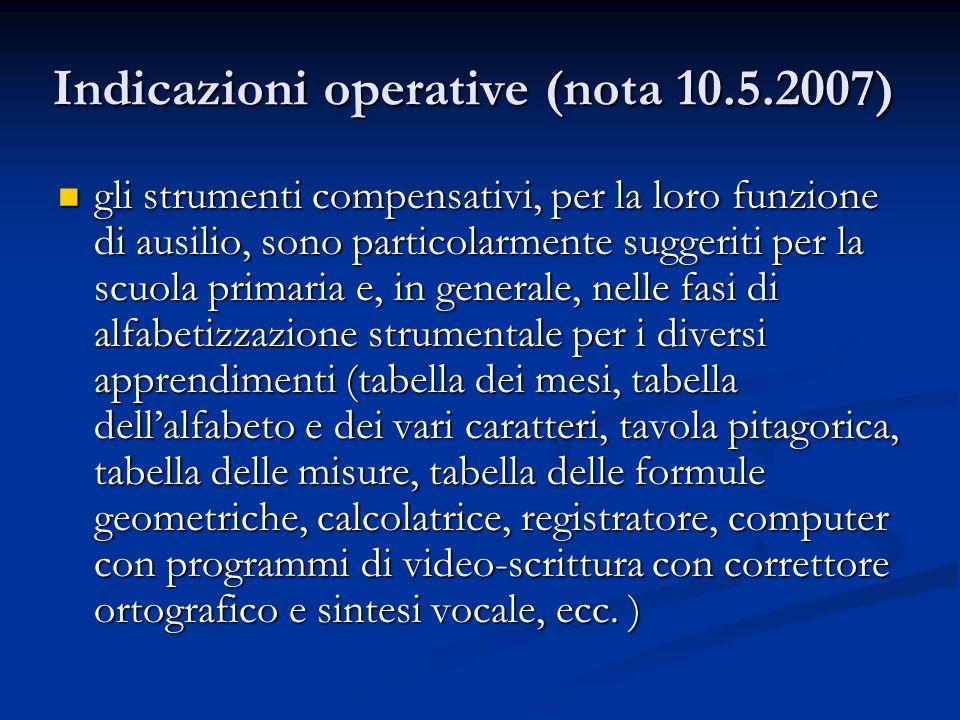Indicazioni operative (nota 10.5.2007)