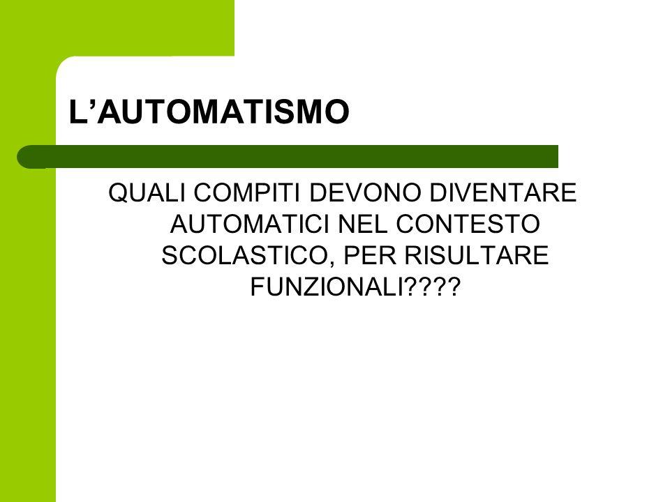 L'AUTOMATISMO QUALI COMPITI DEVONO DIVENTARE AUTOMATICI NEL CONTESTO SCOLASTICO, PER RISULTARE FUNZIONALI